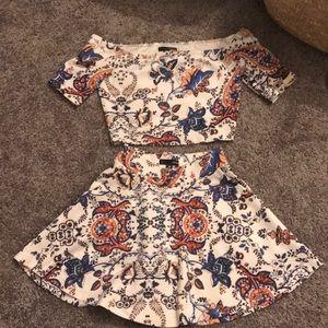 Aqua 2 piece top and skirt set